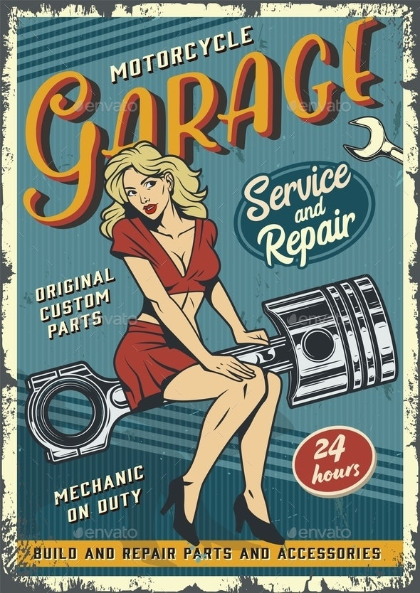Retro Garage Service Poster - People Characters