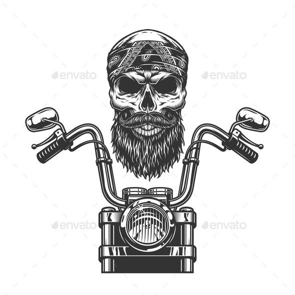 Vintage Biker Skull - Sports/Activity Conceptual