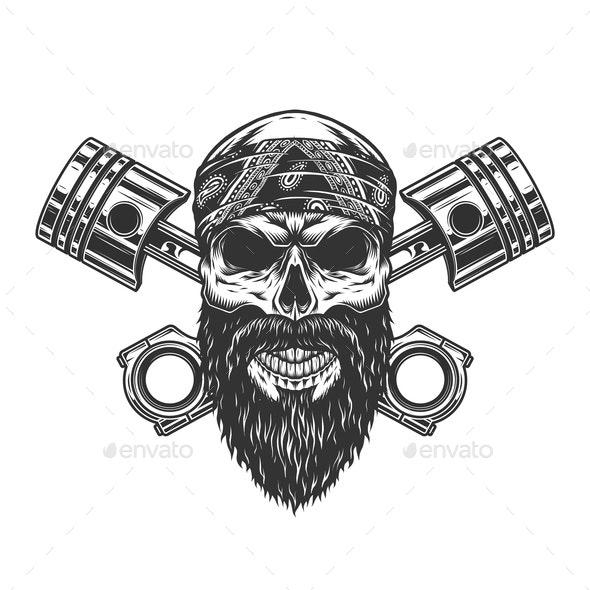 Vintage Biker Skull in Bandanna - Miscellaneous Characters