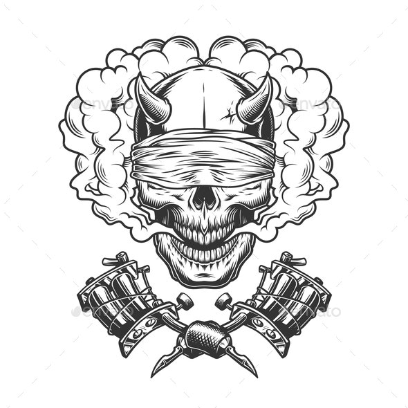 Vintage Demon Skull with Blindfold - Miscellaneous Vectors
