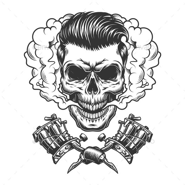 Monochrome Hipster Skull in Smoke Cloud - Miscellaneous Vectors