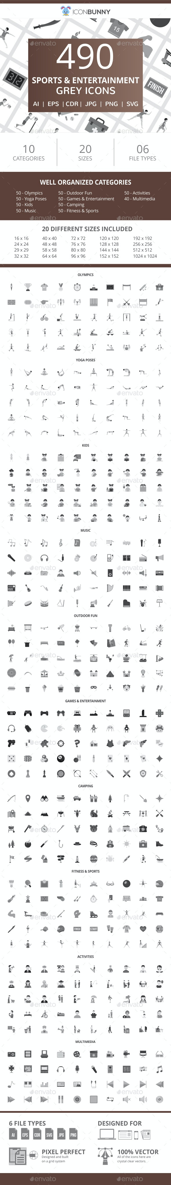 490 Sports & Entertainment Flat Greyscale Icons - Icons