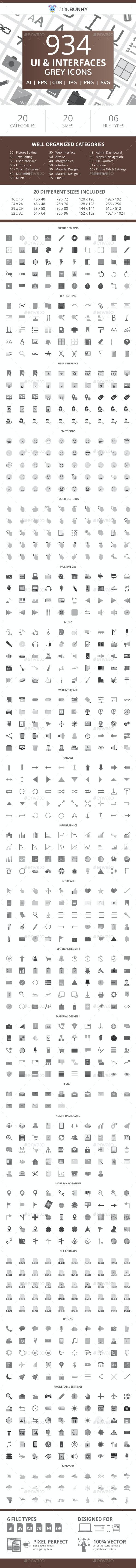 934 UI & Interfaces Flat Greyscale Icons - Icons
