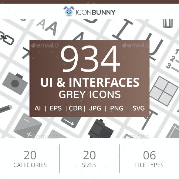 934 UI & Interfaces Flat Greyscale Icons