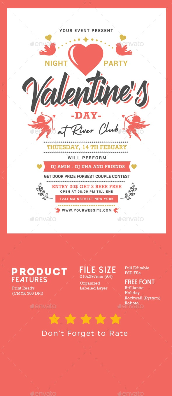 Valentines Night Party - Events Flyers