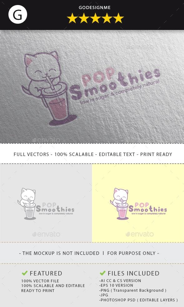 Pop Smoothies Logo Design - Vector Abstract