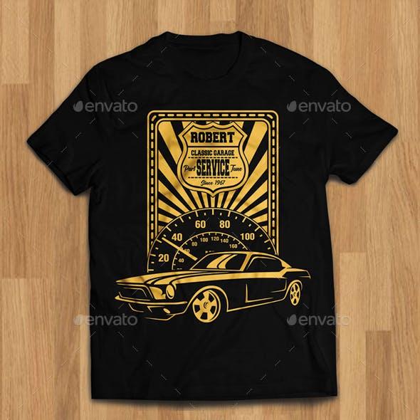 Classic Car Garage Tshirt