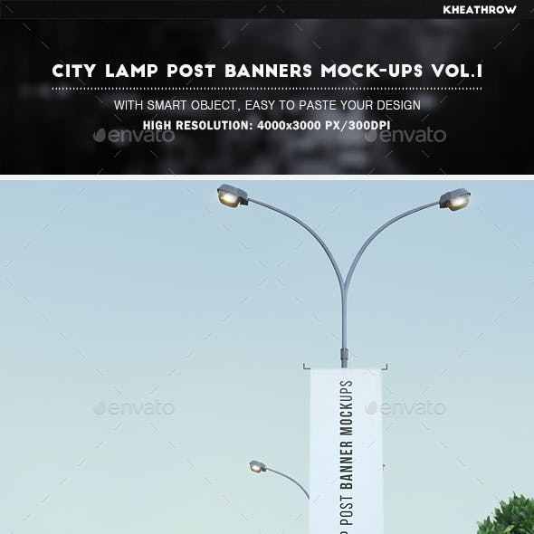 City Lamp Post Banners Mock-Ups Vol.1
