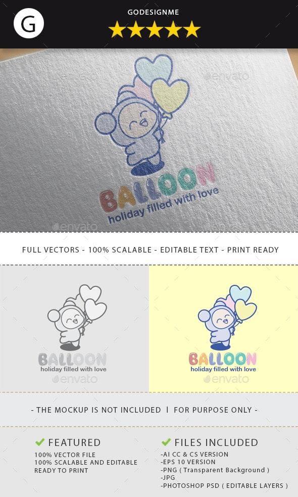 Heart Balloon Logo Design - Vector Abstract