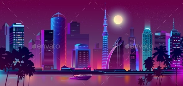 Vector Night Purple City River with Boat - Backgrounds Decorative