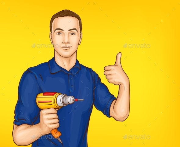 Vector Pop Art Male Character with Drill - People Characters