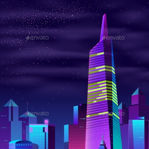 Vector Glowing Tower on River