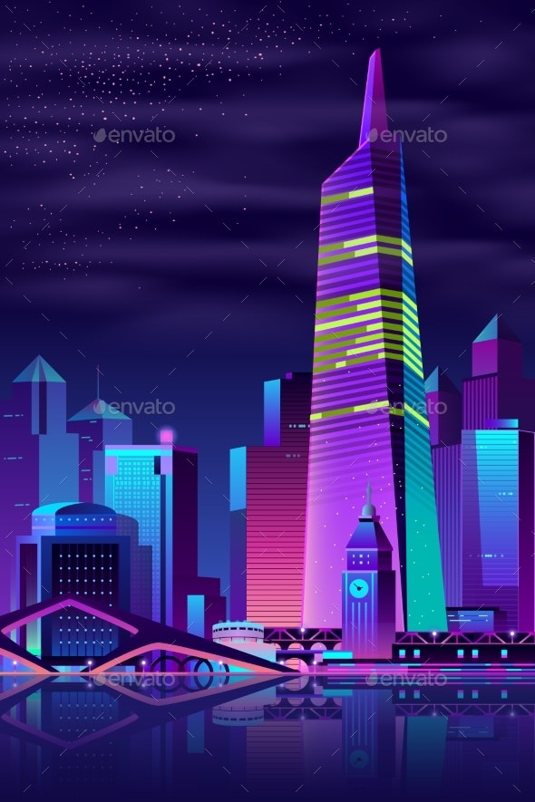 Vector Glowing Tower on River - Buildings Objects