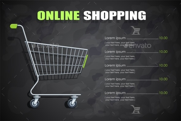 Shopping Cart for Supermarket Products - Retail Commercial / Shopping