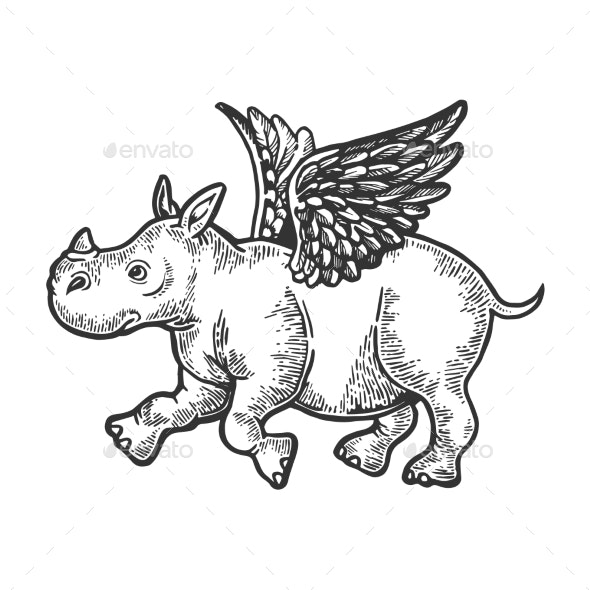 Angel Flying Baby Rhinoceros Engraving Vector - Miscellaneous Characters