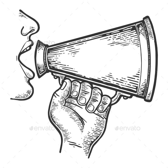 Loudspeaker Speech Engraving Vector - Miscellaneous Vectors