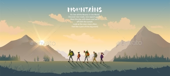 Travel Mountains People - Sports/Activity Conceptual