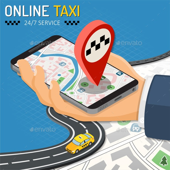 Online Taxi Isometric Concept - Web Technology