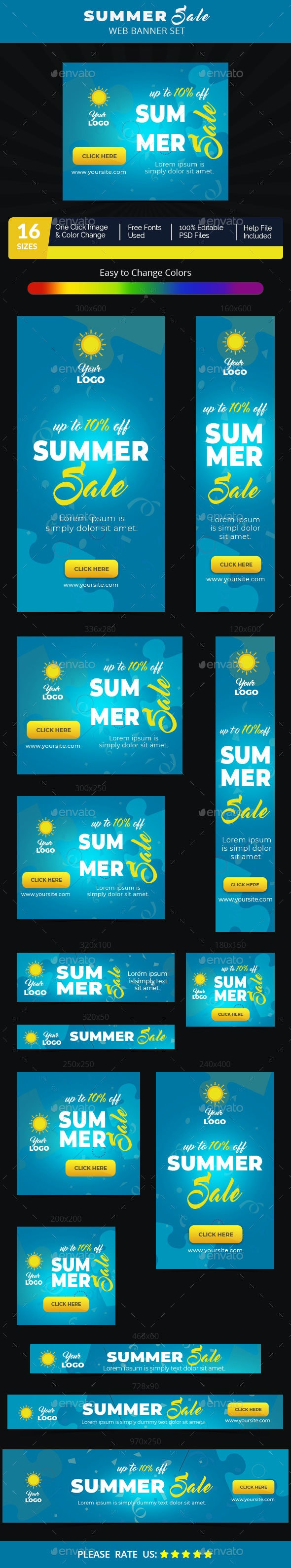 Summer Sale Web Banner Set - Banners & Ads Web Elements
