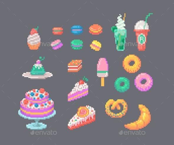 Set Of Pixel Art Desserts. - Food Objects