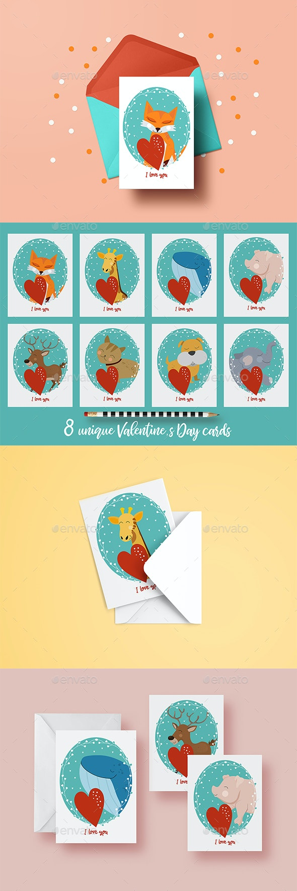 8 Valentine's Day Cards with Animals - Greeting Cards Cards & Invites