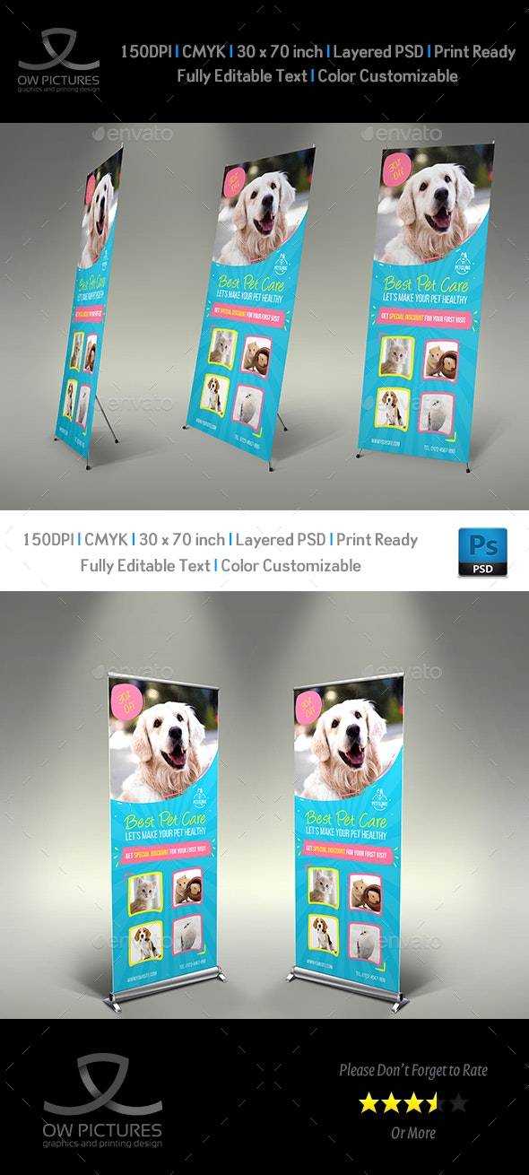 Pet Care Center Signage Banner Roll Up Template - Signage Print Templates