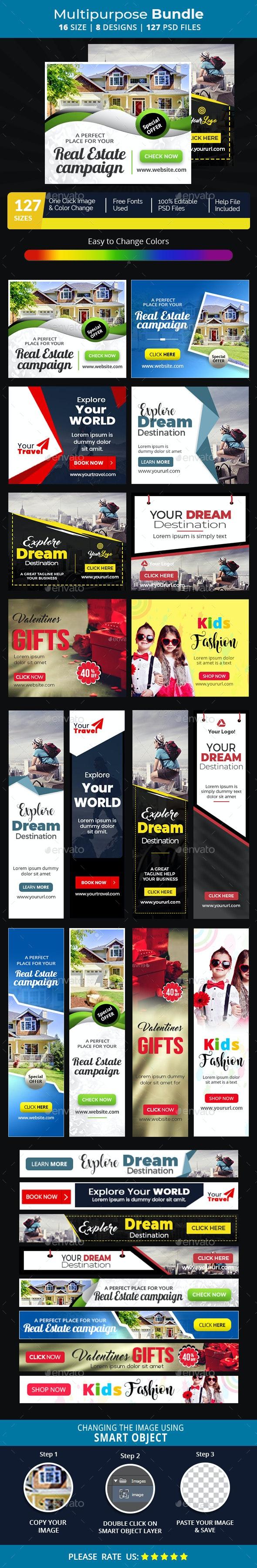 Multipurpose Banners Bundle-8 Design v3 - Banners & Ads Web Elements