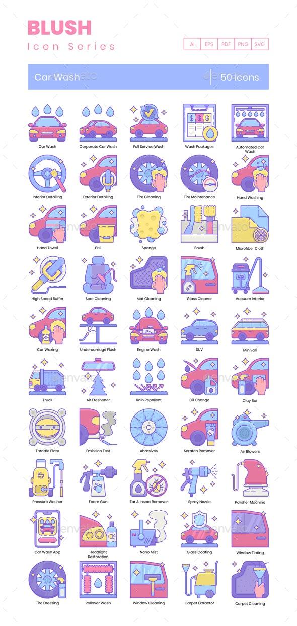 Car Wash Icons - Blush Series - Icons