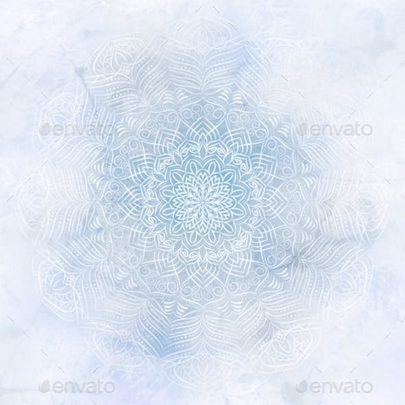 Frosty Mystic Abstract Mandala Blue Background