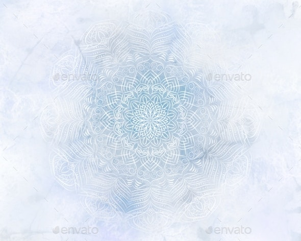 Frosty Mystic Abstract Mandala Blue Background - Abstract Backgrounds