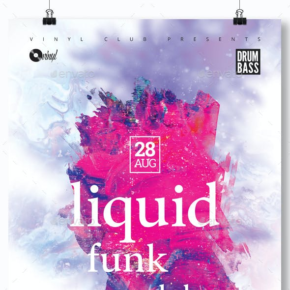 Liquid Funk Dnb - Party Flyer / Poster Template A3