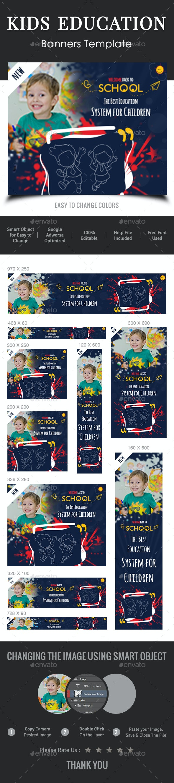 Kids Education Banners - Banners & Ads Web Elements
