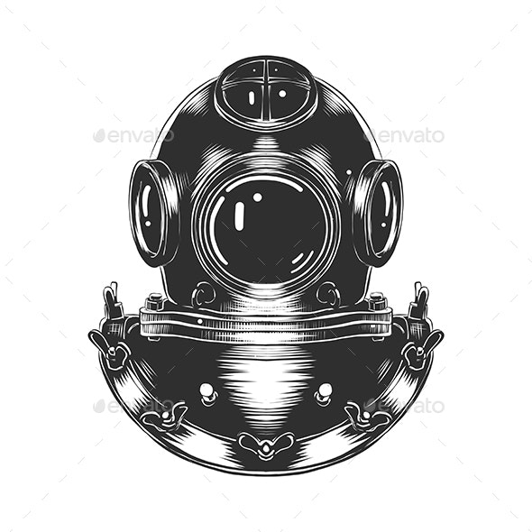 Hand Drawn Sketch of Diving Helmet - Man-made Objects Objects