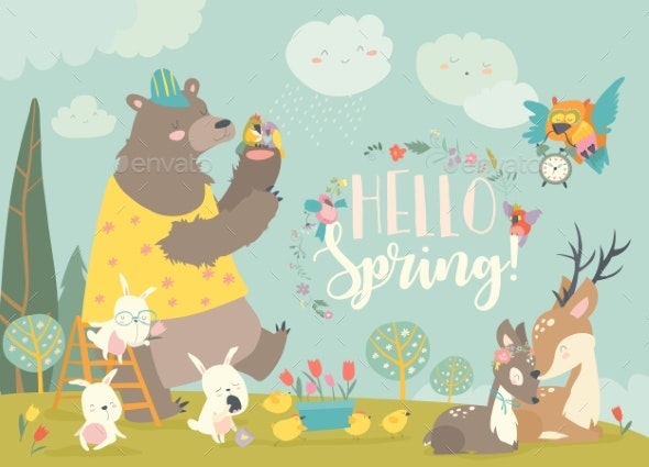 Animals Meeting Spring in the Forest - Flowers & Plants Nature