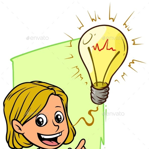 Cartoon Girl Character with Idea Lightning Bulb