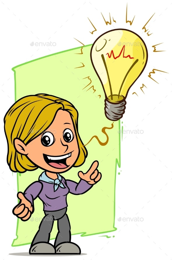 Cartoon Girl Character with Idea Lightning Bulb - People Characters