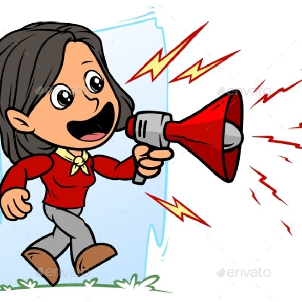 Cartoon Brunette Girl Character with Red Bullhorn
