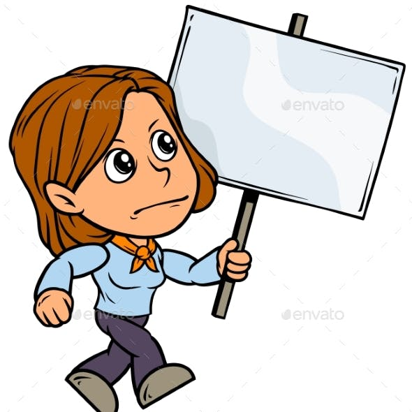 Cartoon Girl Character with Blank Streamer Sign