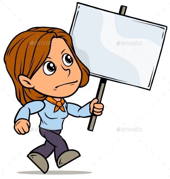Cartoon Girl Character with Blank Streamer Sign - People Characters