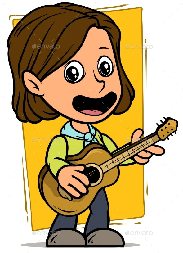 Cartoon Girl Character with Wooden Acoustic Guitar - People Characters