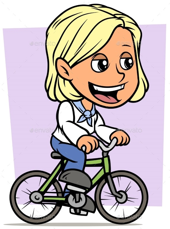 Cartoon Blonde Girl Character Riding on Bicycle - People Characters