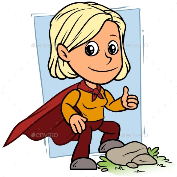 Cartoon Girl Character in Red Superhero Cape