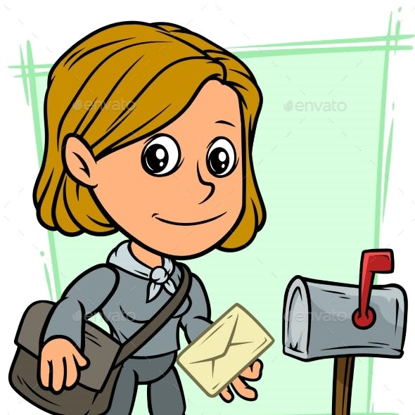 Cartoon Postgirl Character with Letter and Mailbox