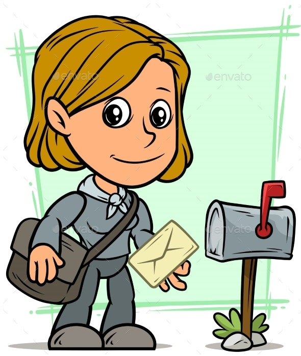 Cartoon Postgirl Character with Letter and Mailbox - People Characters