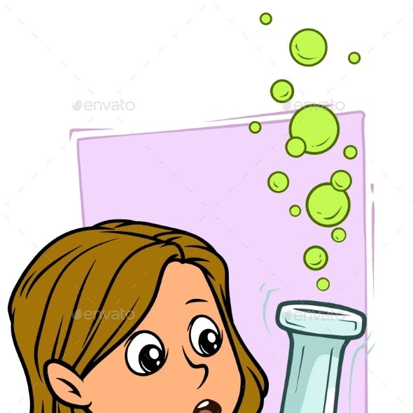Cartoon Girl Character with Big Chemical Flask