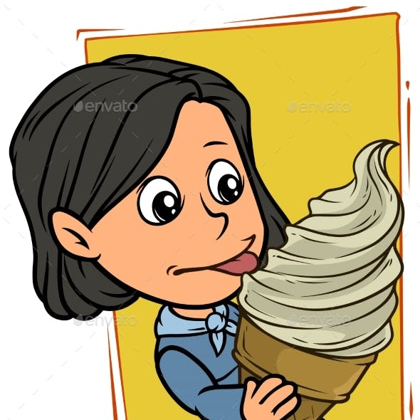 Cartoon Girl Character Eating Big White Ice Cream
