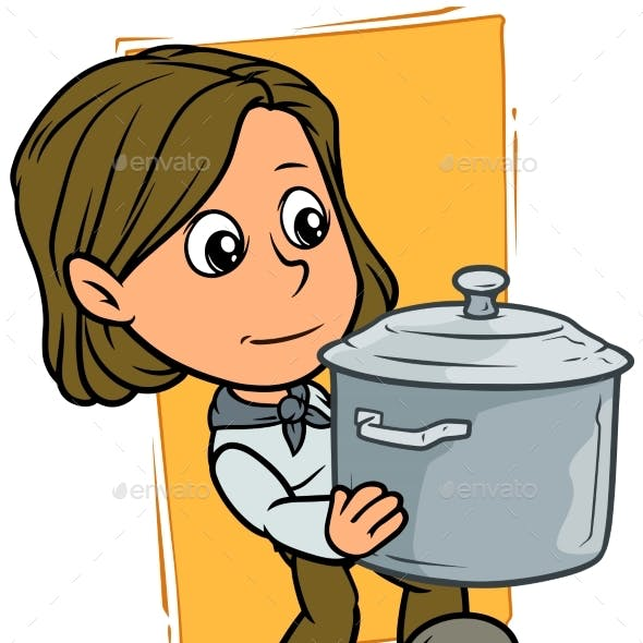 Cartoon Girl Character with Metal Cooking Pot