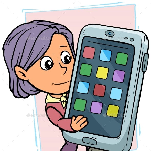 Cartoon Girl Character with Smartphone