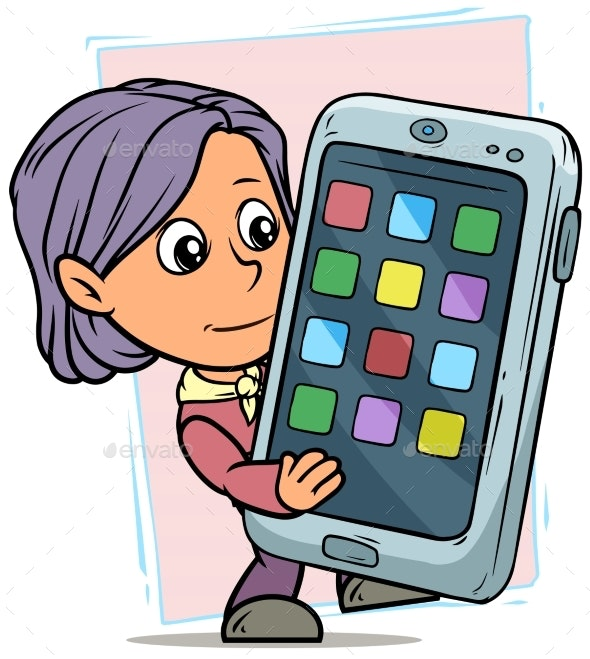 Cartoon Girl Character with Smartphone - People Characters