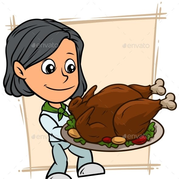 Cartoon Girl Character with Fried Turkey on Tray